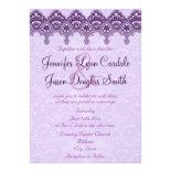 Elegant Purple Damask Lace Wedding Invitations
