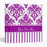 Elegant Purple Damask on White 3 Ring Binders