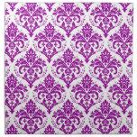 Elegant Purple Damask on White Cloth Napkins