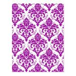 Elegant Purple Damask on White Postcard