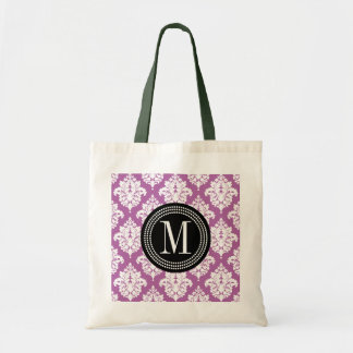 Elegant Purple Damask Personalized Tote Bag