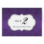 Elegant Purple Damask Reception Table Number Greeting Card