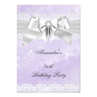 Elegant Purple Damask Silver White Birthday Party Card