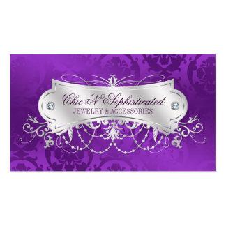 Elegant Purple Damask Swirl Business Card