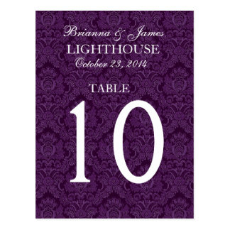 Elegant Purple Damask Wedding Table Number Card