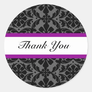 Elegant Purple Damask Wedding Thank You Stickers