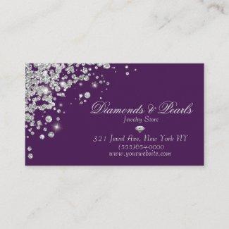 Elegant Purple Diamond Jewel Designed Sparkle Business Card