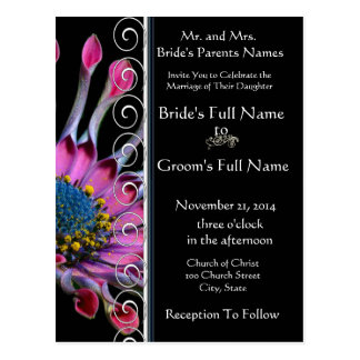 Elegant Purple Exotic Daisy Wedding Invitation Postcard
