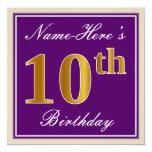 [ Thumbnail: Elegant, Purple, Faux Gold 10th Birthday + Name Invitation ]
