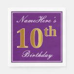 [ Thumbnail: Elegant Purple, Faux Gold 10th Birthday + Name Paper Napkin ]