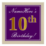 [ Thumbnail: Elegant, Purple, Faux Gold 10th Birthday + Name Poster ]
