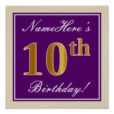 Art Themed Elegant, Purple, Faux Gold 10th Birthday   Name Poster