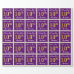 [ Thumbnail: Elegant, Purple, Faux Gold 10th Birthday + Name Wrapping Paper ]