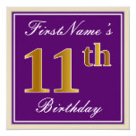 [ Thumbnail: Elegant, Purple, Faux Gold 11th Birthday + Name Invitation ]