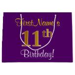 [ Thumbnail: Elegant, Purple, Faux Gold 11th Birthday + Name Gift Bag ]