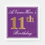 [ Thumbnail: Elegant Purple, Faux Gold 11th Birthday + Name Napkin ]