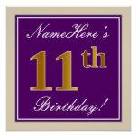 [ Thumbnail: Elegant, Purple, Faux Gold 11th Birthday + Name Poster ]