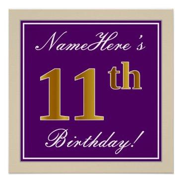 Art Themed Elegant, Purple, Faux Gold 11th Birthday   Name Poster