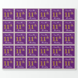 [ Thumbnail: Elegant, Purple, Faux Gold 11th Birthday + Name Wrapping Paper ]