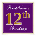 [ Thumbnail: Elegant, Purple, Faux Gold 12th Birthday + Name Invitation ]