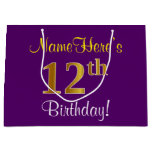 [ Thumbnail: Elegant, Purple, Faux Gold 12th Birthday + Name Gift Bag ]