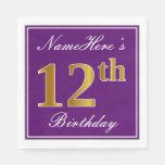[ Thumbnail: Elegant Purple, Faux Gold 12th Birthday + Name Napkin ]