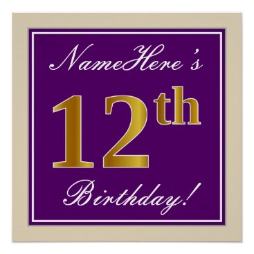 Art Themed Elegant, Purple, Faux Gold 12th Birthday   Name Poster