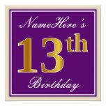 [ Thumbnail: Elegant, Purple, Faux Gold 13th Birthday + Name Invitation ]