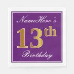 [ Thumbnail: Elegant Purple, Faux Gold 13th Birthday + Name Napkin ]