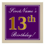 [ Thumbnail: Elegant, Purple, Faux Gold 13th Birthday + Name Poster ]