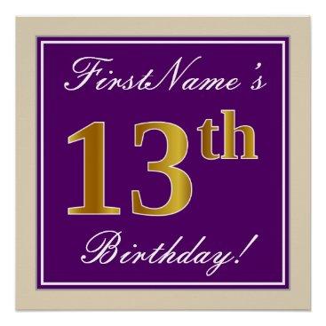 Art Themed Elegant, Purple, Faux Gold 13th Birthday   Name Poster