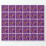 [ Thumbnail: Elegant, Purple, Faux Gold 13th Birthday + Name Wrapping Paper ]