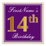 [ Thumbnail: Elegant, Purple, Faux Gold 14th Birthday + Name Invitation ]