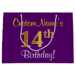 [ Thumbnail: Elegant, Purple, Faux Gold 14th Birthday + Name Gift Bag ]