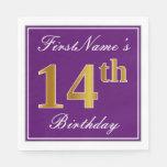 [ Thumbnail: Elegant Purple, Faux Gold 14th Birthday + Name Napkin ]