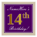 [ Thumbnail: Elegant, Purple, Faux Gold 14th Birthday + Name Poster ]