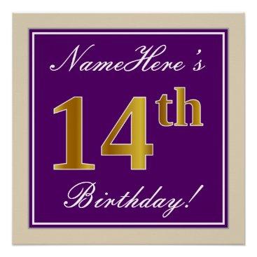Art Themed Elegant, Purple, Faux Gold 14th Birthday   Name Poster