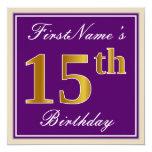 [ Thumbnail: Elegant, Purple, Faux Gold 15th Birthday + Name Invitation ]