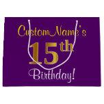 [ Thumbnail: Elegant, Purple, Faux Gold 15th Birthday + Name Gift Bag ]
