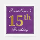 [ Thumbnail: Elegant Purple, Faux Gold 15th Birthday + Name Napkin ]