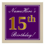 [ Thumbnail: Elegant, Purple, Faux Gold 15th Birthday + Name Poster ]