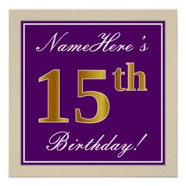 Art Themed Elegant, Purple, Faux Gold 15th Birthday   Name Poster