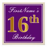 [ Thumbnail: Elegant, Purple, Faux Gold 16th Birthday + Name Invitation ]