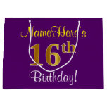 [ Thumbnail: Elegant, Purple, Faux Gold 16th Birthday + Name Gift Bag ]