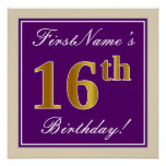 [ Thumbnail: Elegant, Purple, Faux Gold 16th Birthday + Name Poster ]