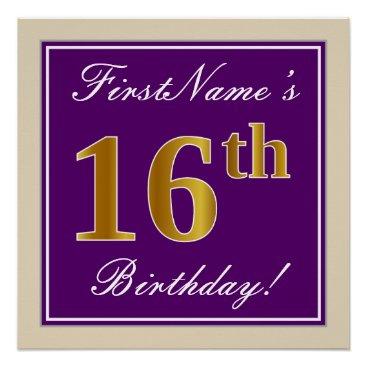 Art Themed Elegant, Purple, Faux Gold 16th Birthday   Name Poster