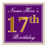 [ Thumbnail: Elegant, Purple, Faux Gold 17th Birthday + Name Invitation ]