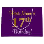 [ Thumbnail: Elegant, Purple, Faux Gold 17th Birthday + Name Gift Bag ]