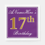 [ Thumbnail: Elegant Purple, Faux Gold 17th Birthday + Name Paper Napkin ]