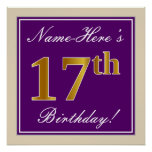 [ Thumbnail: Elegant, Purple, Faux Gold 17th Birthday + Name Poster ]